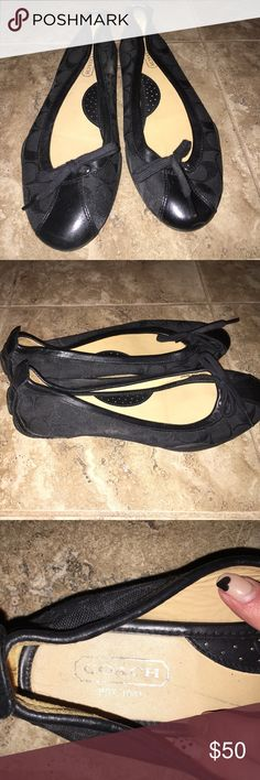"Coach flats Very good condition. Too big for me and they've been sitting in my closet for a while. Style inside says ""P621 JENILEE 9M F2070/J05"" Coach Shoes Flats & Loafers"