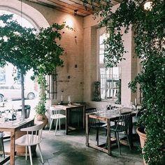Copenhagen Restaurants, Outdoor Furniture Sets, Outdoor Decor, Cafe Bar, Dark Wood, Indoor Garden, Scandinavian Design, Architecture, Coffee Shop