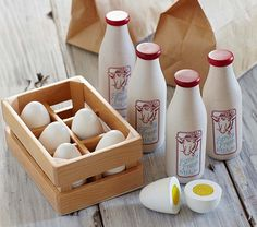 { Wooden Milk Container Set & Wooden Egg Set }