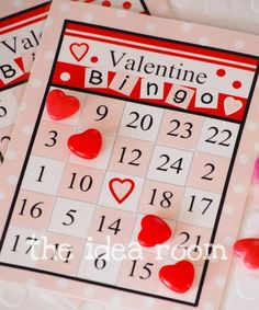 "Valentines Bingo: Directions and printable on site  Can use as Math game w/ clues, ""2 tens, 4 ones"" ""10-7"" etc"