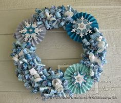 Winter Curly Paper Wreath Video frenchiestamps.com