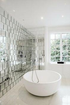 Modern mirrored bathroom wall Visit us at www.ie for more modern bathroom ideas :) Bad Inspiration, Bathroom Inspiration, Mirror Inspiration, Bathroom Wall, Modern Bathroom, Small Bathrooms, Minimalist Bathroom, Bathroom Vanities, Bathroom Tiling