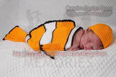 Clownfish Costume for Baby - Finding Nemo set - Cocoon and Hat - newborn outfit - photo prop or gift for baby shower. $35.00, via Etsy.