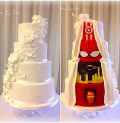 This Couple's Wedding Cake Is A Superhero Cake In Disguise http://bzfd.it/1Nw6zoh