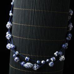 Chinese Blue & White Porcelain Bead Multi-Strand Necklace