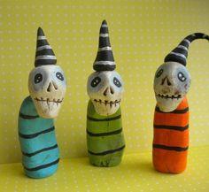 Colorful Skeleton Trio-clay folk art sculpture