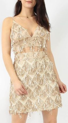 928586ed512 Gold Tassel Sequin Bralet Dress - Tassel Sequin Bralet - Fully Lined - Back  Zip Fastening