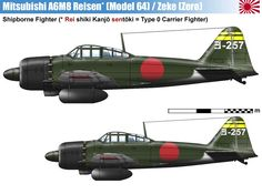 A6M8 Type 0 Model 64.  Similar to the A6M6 but with the Sakae (now out of production) replaced by the Mitsubishi Kinsei 62 engine with 1,560 hp, 60% more powerful than the engine of the A6M2.  This resulted in an extensively modified cowling and nose for the aircraft.  Two prototypes were completed in April 1945 but the chaotic situation of Japanese industry and the end of the war obstructed the start of the ambitious program of production for 6,300 machines, none being completed.