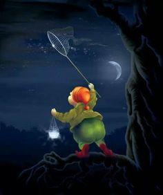Out catching fireflies Good Night Moon, Night Time, Catching Fireflies, Moon Pictures, Frases Humor, Moon Art, Moon Child, Whimsical Art, Cute Illustration