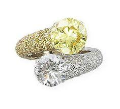 tabbah a diamond and coloured diamond u0027toi u0026 moiu0027 ring a diamond and coloured diamond u0027toi et moiu0027 ring by tabbah one halfhoop pavset with diamonds