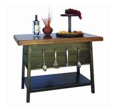 Distressed Natural Oak Industrial Warehouse Cart Kitchen Island Simple Rustic Kitchen Cart Design Inspiration