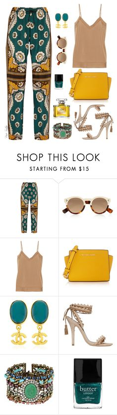 """""""Feeling Fine"""" by renee-switzer ❤ liked on Polyvore featuring Valentino, Illesteva, By Malene Birger, MICHAEL Michael Kors, Chanel, Etro, DANNIJO, Butter London and Jean Patou"""