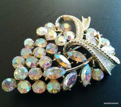 Signed CORO PEGASUS Vintage Brooch Pin Flower AB Rhinestone Gold Tone WOW! 2232