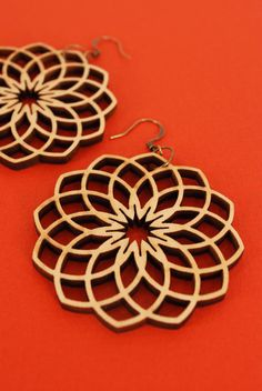 dahlia lasercut earrings by MAKEatx on Etsy, $36.00