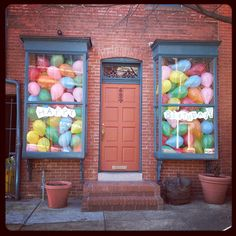 Happy Birthday balloons in window - hint hint nudge nudge...since my birthday is in 2 days!