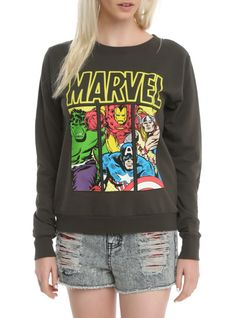 The Avengers assemble on this charcoal grey pullover top!