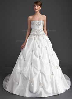 Wedding Dresses - $228.99 - Ball-Gown Strapless Cathedral Train Taffeta Wedding Dress With Ruffle Beadwork (002015939) http://jjshouse.com/Ball-Gown-Strapless-Cathedral-Train-Taffeta-Wedding-Dress-With-Ruffle-Beadwork-002015939-g15939