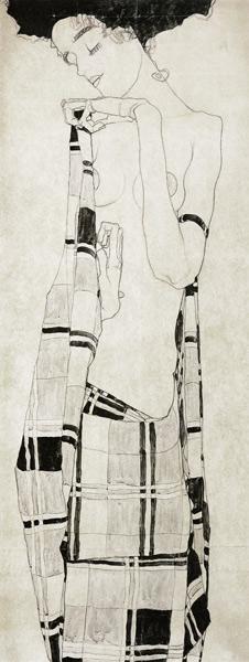 Egon Schiele - Fille debout dans le chiffon quadrillé