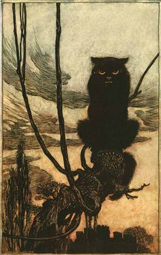"""Arthur Rackham, """"By day she made herself into a cat,"""" 1920  This malevolent """"she"""" is a shape-shifting witch who turns virgins into birds and cages them. Rackham's illustration for """"Jorinde and Joringel"""" in Hansel and Gretel and Other Tales by the Brothers Grimm demonstrates his brilliant use of anthropomorphism to capture pathological states of mind."""