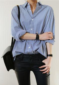 Gestreepte blouse, skinny zwarte broek
