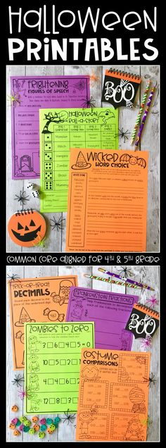Want to have some Halloween FUN in the classroom this October?!?! Check out these engaging printable activities for 4th and 5th grade classrooms!! Easy prep for teachers and lots of fun and learning for students!! This resource includes printables for math and language arts, including a Halloween Roll a Story!! The kids at your school will love these!!!