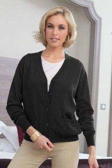 Le gilet femme manches longues noir. Pure laine vierge mérinos. Fabrication  française. 581aa28c9b85
