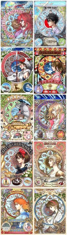 Miyazaki art nouveau by Malboro/Takumi of Pixiv.