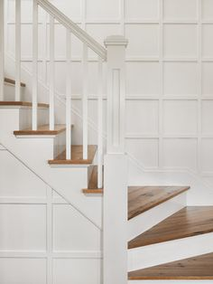 Farm house - traditional - Staircase - board and batten
