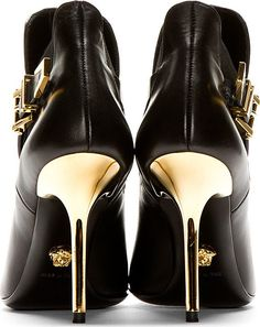 Versace Black Leather Boot With Gold Medusa
