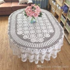 Items similar to Gorgeous hand crochet tablecloth OVAL, huge size handmade table cover, Vintage style table linen for home decor ~ Nice gift for Mom on Etsy Thread Crochet, Filet Crochet, Crochet Motif, Crochet Designs, Crochet Doilies, Crochet Yarn, Hand Crochet, Crochet Round, Crochet Home