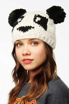 Cute Panda Crochet Slouchy Beanie for GIrls - Cable Knit Crochet Slouchy Beanie