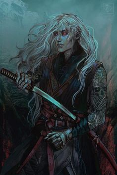 M elf fighter samurai Elves Fantasy, Fantasy Warrior, Fantasy Rpg, Elf Warrior, Warrior Angel, Fantasy Series, Dungeons And Dragons Characters, Dnd Characters, Fantasy Characters