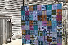 I always seem to be drawn to these wonky cross motifs; Film in the Fridge quilt using Glimma fabrics by Lotta Jansdotter