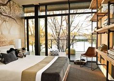 Kid's bedroom, modern bedroom, picture wall covering, custom bookshelf, full height windows, Wisconsin Modern Riverfront project by dSPACE Studio, Ltd. AIA