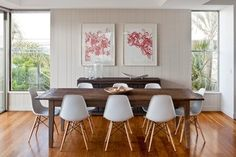 contemporary dining room by Highgate House, eames chairs, wooden dining table, hardwood floor Eames Dining Chair, Plastic Dining Chairs, Modern Dining Chairs, Dining Room Chairs, Dining Area, Office Chairs, Dining Tables, Ikea Chairs, Contemporary Chairs