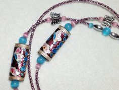 Butterfly  beaded lanyard   purple pink and aqua by llanywynns, $20.00