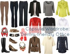 How to make denim and jeans look appropriate at the workplace, a sample capsule wardrobe for an office where jeans are acceptable.
