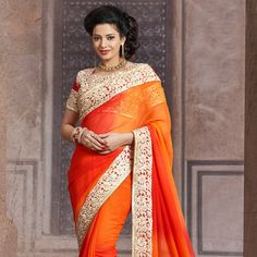 #Orange Faux Chiffon Saree with Blouse