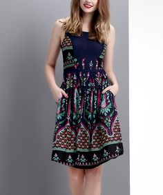 Look at this Navy Bloom Sleeveless Fit & Flare Dress on #zulily today!