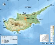 Cyprus Island, 149 miles long 62 miles wide at the widest part . worlds 81st largest by area and worlds 51st largest by population