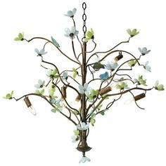 Canopy Designs Butterfly and Blossom Chandelier (3,815 CAD) ❤ liked on Polyvore featuring home, lighting, ceiling lights, decor, glass chandelier, glass lighting, chain lamp, flower stem y chain lights