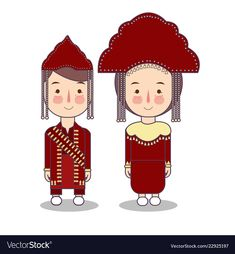 Bangka belitung traditional national clothes of Vector Image outfits indonesia
