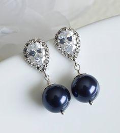 Navy Blue Swarovski Pearl Earrings