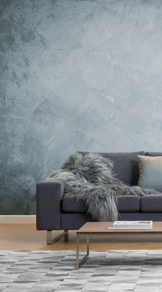 New Living Room Decor Grey Couch Dark Walls Ideas Living Room Grey, Rugs In Living Room, Living Room Paint, Wallpaper For Living Room, Feature Wall Bedroom, Blue Walls, Dark Walls, Blue Grey Rooms, Wood Walls