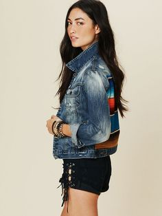Artisan De Luxe Mexican Stripe Denim Jacket at Free People Clothing Boutique