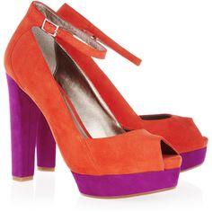 DKNY Corey Color-Block Suede Peep-Toe Pumps ... net-a-porter