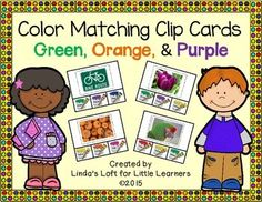 This set of Color Matching Clip Cards consists of 24 cards for each color: green, orange, and purple, for a total of 72 cards.  Children place a clothespin on the paint can that matches the color of the photo.This is an engaging activity that can be used in a small group to teach color recognition or at a center for children to complete independently. $