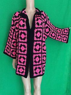 Vintage-70s-CROCHET-Granny-Squares-Hippie-Boho-Gypsy-Cardigan-Sweater-Jacket