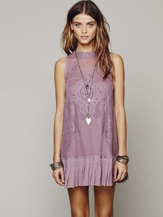 Free People Fp One Angel Lace Dress in Purple (Dusty Plum) - Lyst