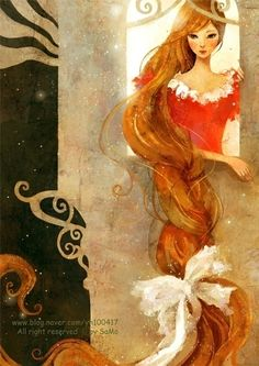 Tangled / Rapunzel - by Kim Yoon Hee Fantasy World, Fantasy Art, Rapunzel Flynn, Illustration Art, Illustrations, Fairytale Art, Lunar Chronicles, Caricatures, Graphic